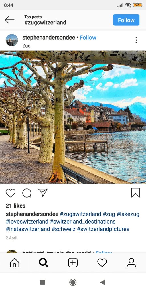 zug lake on instagram
