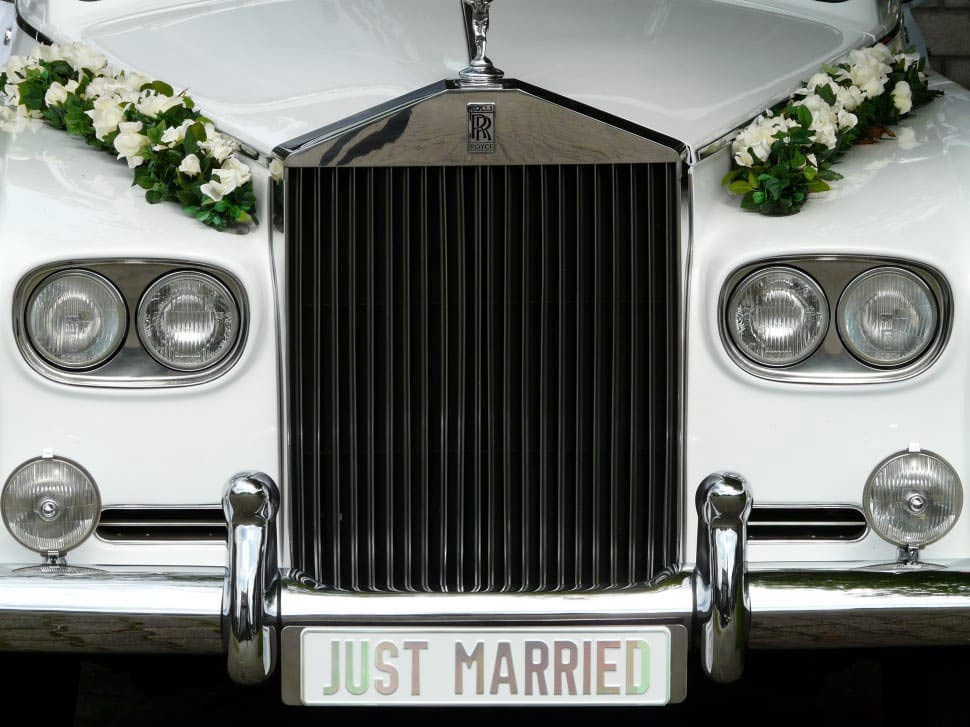friends wedding limousine - just married on a limo