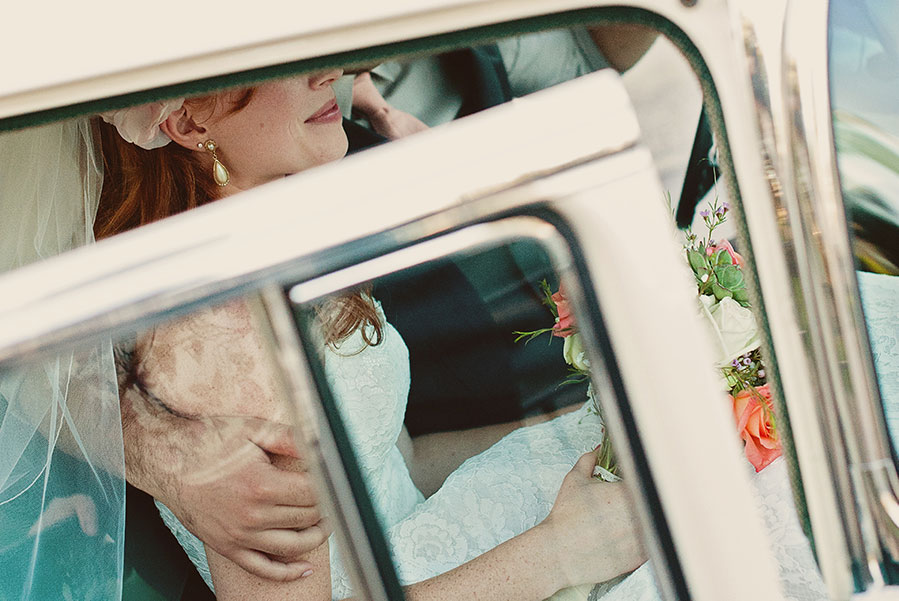 groom and bride in a wedding limousine - weds in a limo