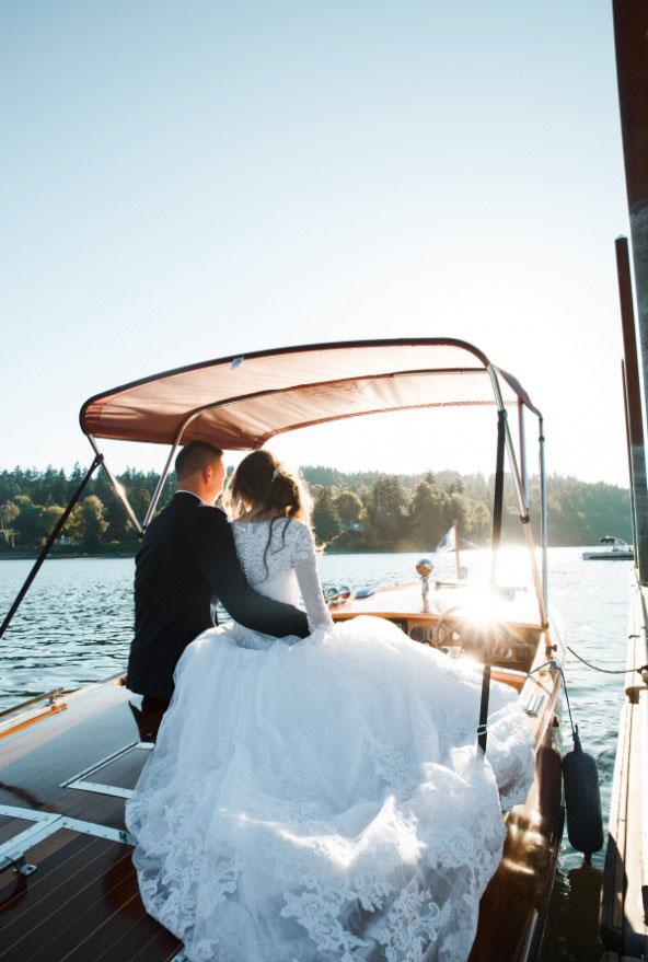 wedding boat - wedding couple on a boat