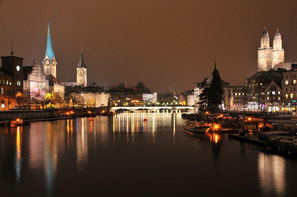 zurich at night - night zurich - zurich switzerland river night
